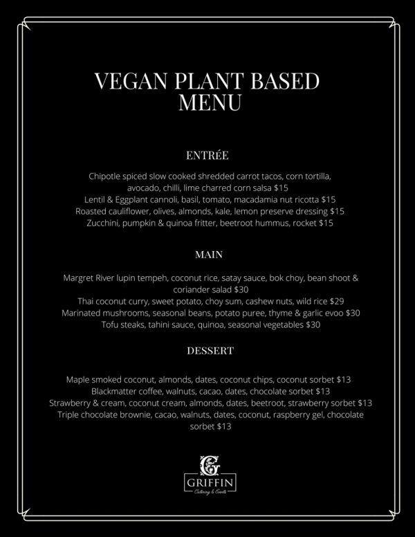 Plant Based Vegan Menu