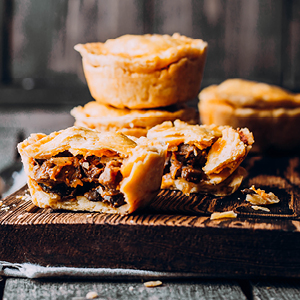 gourmet pies and sausage rolls