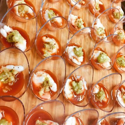 King Prawn shooter, bloody Mary jelly, avocado mousse – shot glass (gf)